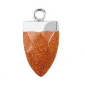 Natuursteen hanger tand sugar almond brown glitter zilver