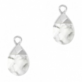 Natuursteen hangers ovaal white marble zilver