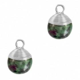 Natuursteen hangers wire wrapped dark green marble zilver