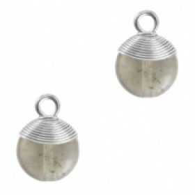 Natuursteen hangers wire wrapped fossil grey zilver