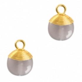 Natuursteen hangers wire wrapped mirage grey goud
