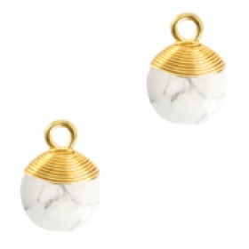 Natuursteen hangers wire wrapped white marble goud