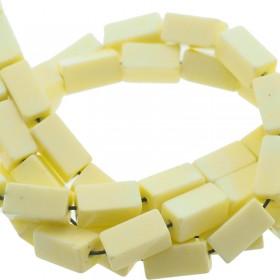 Natuursteen tubekralen licht geel 9x4mm
