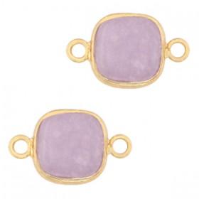 Natuursteen tussenzetsel / tussenstuk vierkant icy lavender purple gold 12x12mm