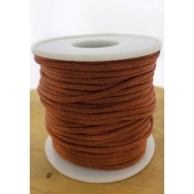 Nylondraad/ stevig satijnkoord rond 2.5mm oranjebruin (per meter)