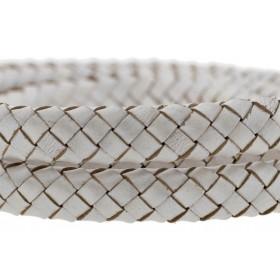 Ovaal gevlochten kabel leer 10x6mm beige metallic per cm
