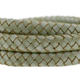 Ovaal gevlochten kabel leer 10x6mm olijf metallic per cm
