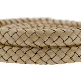 Ovaal gevlochten kabel leer 10x6mm peach metallic per cm