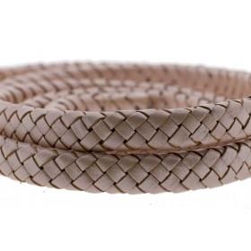 Ovaal gevlochten kabel leer 10x6mm vintage rose metallic per cm
