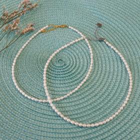 Ketting zoetwaterparels 3.3mm kraal 37+5cm
