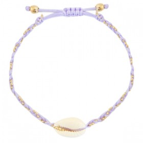 armbandje-kauri-gevlochten-lilac-purple-gold
