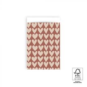 Papieren cadeauzakjes / inpakzakjes Love 12×19cm red beige (per 5 stuks)
