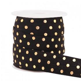 Plat elastisch lint 15mm dots black (per 25cm)
