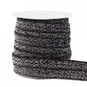 Plat elastisch lint 15mm glitter anthracite (per 25cm)