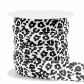 Plat elastisch lint 15mm leopard white-black (per 25cm)