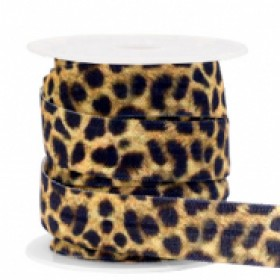 Plat elastisch lint 15mm leopard yellow-brown (per 25cm)