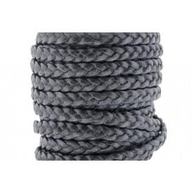 Plat gevlochten leer 5mm grijs metallic per 20cm