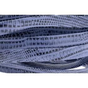 Plat leer met print 10mm lizard blue sky per 20cm
