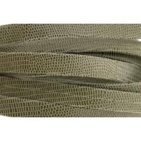 Plat leer met print 10mm lizard olive per 20cm