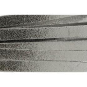 Plat leer met print 10mm multidot dark silver per 20cm