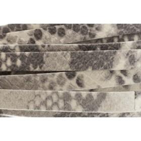 Plat leer met print 10mm python light grey per 20cm