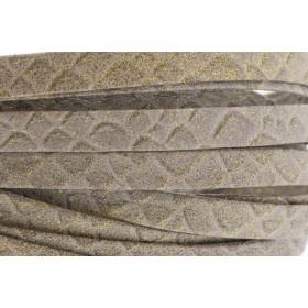 Plat leer met print 10mm snake taupe per 20cm