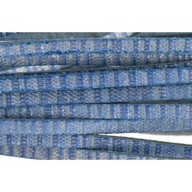 Plat leer met print 5mm blue glitter per 20cm