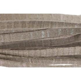 Plat leer met print 5mm lizard beige per 20cm