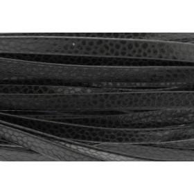 Plat leer met print 5mm lizard black 2 per 20cm