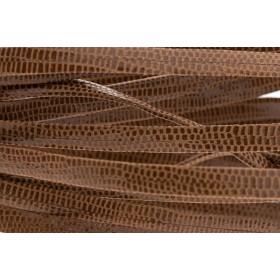Plat leer met print 5mm lizard brown per 20cm