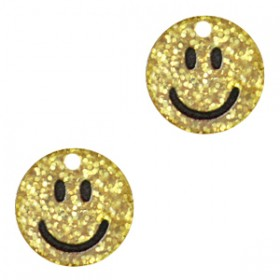 Plexx bedel smiley rond hearts gold glitter 12mm