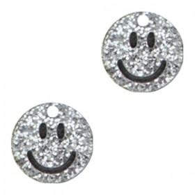 Plexx bedel smiley rond hearts silver glitter 12mm