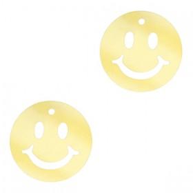 Plexx bedel smiley rond mirror gold 12mm