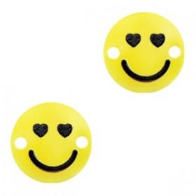 Plexx bedel tussenzetsel smiley rond hearts sunrise yellow 12mm