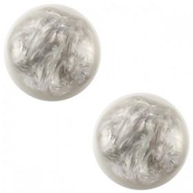 Polaris cabochon 12mm pearl shine grijs wit