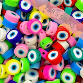Polymeer kralen eye rond multicolour 10mm (per 5 stuks)