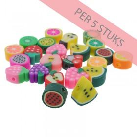 Polymeer kralen mixed fruit 2 multicolour 7-12mm (per 5 stuks)