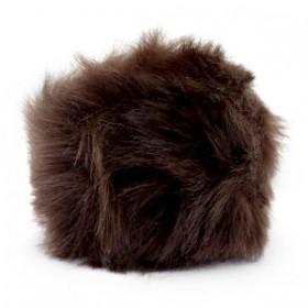 Pompom bedel (groot) met oog faux fur 8cm dark brown