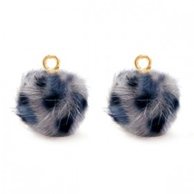 Pompom bedel met oog 12mm faux fur leopard grey-blue