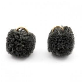 Pompom bedel met oog 15mm anthracite black