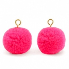 Pompom bedel met oog 15mm hot neon pink gold