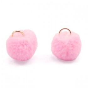 Pompom bedel met oog 15mm roze