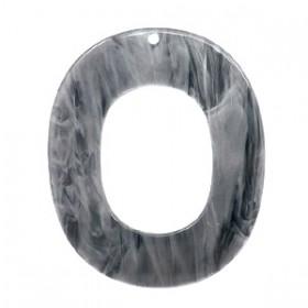 Resin hangers ovaal grey 48x40mm (per stuk)