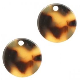Resin hangers rond cognac brown 12mm (per stuk)