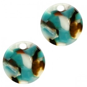 Resin hangers rond turquoise brown 19mm (per stuk)