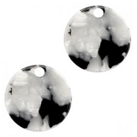 Resin hangers rond zwart wit 19mm (per stuk)