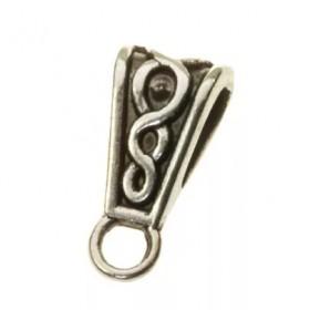 Ring met oog druppel zilver 15x6mm (voor meerdere koorden leer)