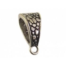 Ring met oog druppel zilver 7x14.5mm (voor meerdere koorden leer)
