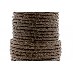 Rond gevlochten leer 4mm brons metallic per 20cm
