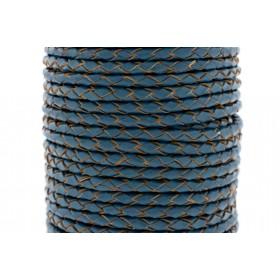 Rond gevlochten leer 4mm jeans blauw per 20cm